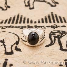 แหวนนิล เจียรหลังเต่า แหวนเงินแท้ แหวนผู้ชายเงินแท้