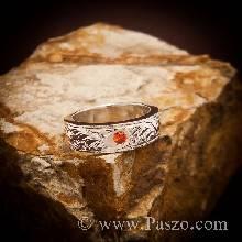 แหวนเงิน สลักลายไทย ฝังพลอยโกเมน พลอยสีส้ม แหวนพลอยสีส้ม