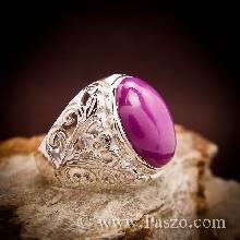 แหวนฉลุลาย แหวนพลอยทับทิมกินบ่เซี้ยง แหวนผู้ชาย แหวนเงินแท้