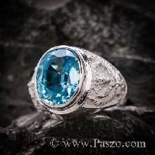 แหวนครุฑ แหวนผู้ชายเงินแท้ พลอยสีฟ้า บูลโทพาซ แหวนเงินแท้ แหวนผู้ชาย