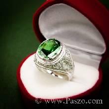แหวนพลอยมรกต แหวนผู้ชายเงินแท้ พลอยสีเขียว แหวนมอญ แกะลายไทย แหวนผู้ชาย