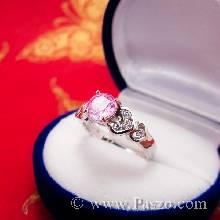 แหวนพลอยสีชมพู แหวนเงินแท้ Pink Topaz เม็ดกลม ฝังเพชร