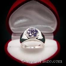 แหวนผู้ชาย หน้าแหวนแปดเหลี่ยม ฝังพลอยอะเมทิสต์ สีม่วง 7 เม็ด ตัวแหวนเงินแท้