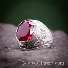 แหวนทับทิมผู้ชาย แหวนผู้ชายเงินแท้ แหวนทรงมอญ แกะลายไทย ฝังพลอยทับทิม แหวนเงินแท้ แหวนผู้ชาย