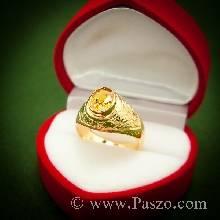 แหวนผู้ชายบุษราคัม แหวนทองผู้ชาย แหวนมอญ แกะสลักลายไทย ฝังพลอยบุษราคัม แหวนพลอยสีเหลือง