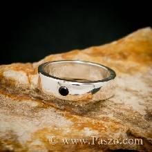 แหวนนิล แหวนเกลี้ยง ฝังนิล แหวนหน้ากว้าง6มิล แหวนเงินแท้