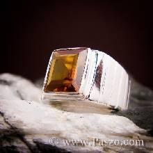แหวนผู้ชาย แหวนเงินแท้ ฝังพลอยบุษราคัม
