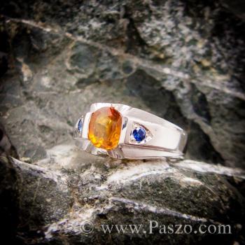 แหวนแห่งแสง ฝังพลอยบุษราคัม ฝังพลอยไพลิน #7