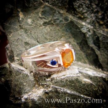 แหวนแห่งแสง ฝังพลอยบุษราคัม ฝังพลอยไพลิน #8