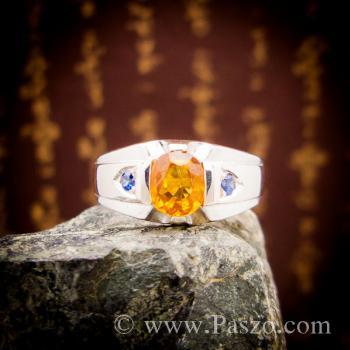 แหวนแห่งแสง ฝังพลอยบุษราคัม ฝังพลอยไพลิน #4
