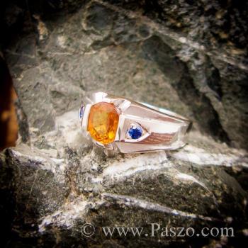 แหวนแห่งแสง ฝังพลอยบุษราคัม ฝังพลอยไพลิน #6