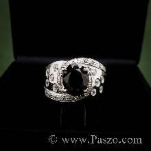 แหวนพลอยนิล ประดับด้วยเพขร  แหวนเงินแท้