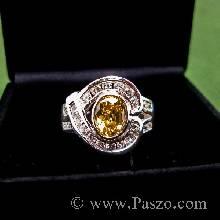แหวนพลอยบุษราคัม ล้อมรอบด้วยเพชร แหวนเงินแท้