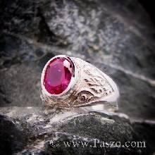 แหวนทับทิม แหวนพลอยผู้ชาย ฝังพลอยทับทิม แหวนทรงมอญ แหวนผู้ชายเงินแท้ แหวนรุ่นเล็ก แหวนผู้ชาย