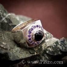 แหวนนิลสำหรับผู้ชาย แหวนนิลล้อมพลอยสีม่วง แหวนเงินแท้