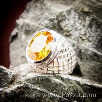 แหวนฉลุลาย แหวนพลอยสีเหลือง แหวนผู้ชายเงินแท้ #3