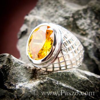 แหวนฉลุลาย แหวนพลอยสีเหลือง แหวนผู้ชายเงินแท้ #7