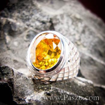 แหวนฉลุลาย แหวนพลอยสีเหลือง แหวนผู้ชายเงินแท้ #2