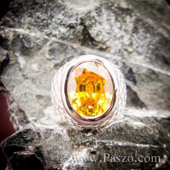 แหวนฉลุลาย แหวนพลอยสีเหลือง แหวนผู้ชายเงินแท้ #4