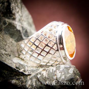 แหวนฉลุลาย แหวนพลอยสีเหลือง แหวนผู้ชายเงินแท้ #6