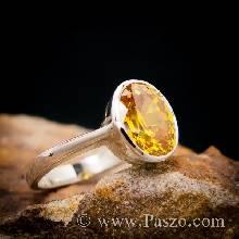 แหวนบุษราคัม แหวนเงินแท้ แหวนพลอยสีเหลือง เม็ดเดี่ยว ฝังหุ้ม