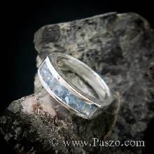 แหวนพลอยสีฟ้า อะความารีน เม็ดสี่เหลี่ยม 6เม็ด แหวนแถว แหวนเงินแท้