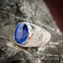 แหวนสลักลายไทย แหวนไพลิน แหวนผู้ชาย พลอยสีน้ำเงิน พลอยไพลิน แหวนผู้ชายเงินแท้