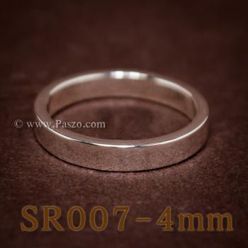 แหวนเกลี้ยงหน้าเรียบ กว้าง4มิล แหวนเงินขอบตรง #5