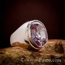 แหวนพลอยสีม่วง แหวนผู้ชายเงินแท้ ฝังพลอยสีม่วง แหวนผู้ชายแบบเรียบๆ แหวนผู้ชาย