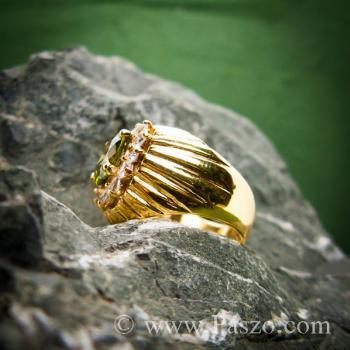 แหวนทองผู้ชาย แหวนพลอยเขียวส่อง ล้อมเพชร #3