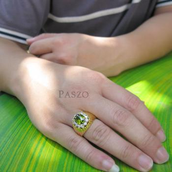 แหวนทองผู้ชาย แหวนพลอยเขียวส่อง ล้อมเพชร #4