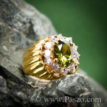 แหวนทองผู้ชาย แหวนพลอยเขียวส่อง ล้อมเพชร #2