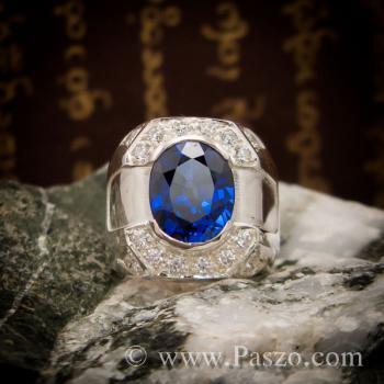 แหวนพลอยสีน้ำเงิน แหวนผู้ชายเงินแท้ แหวนไพลินผู้ชาย #2