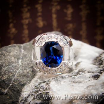 แหวนพลอยสีน้ำเงิน แหวนผู้ชายเงินแท้ แหวนไพลินผู้ชาย #4