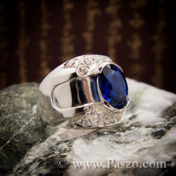 แหวนพลอยสีน้ำเงิน แหวนผู้ชายเงินแท้ แหวนไพลินผู้ชาย #5