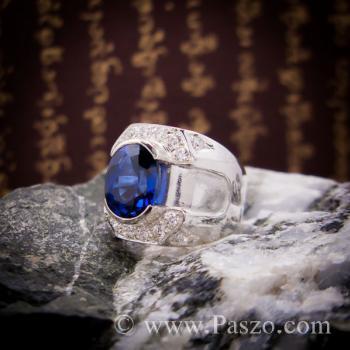 แหวนพลอยสีน้ำเงิน แหวนผู้ชายเงินแท้ แหวนไพลินผู้ชาย #7