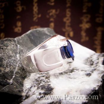 แหวนพลอยสีน้ำเงิน แหวนผู้ชายเงินแท้ แหวนไพลินผู้ชาย #3