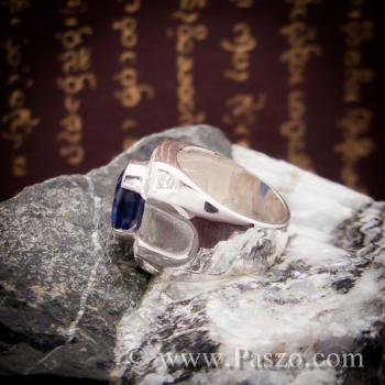 แหวนพลอยสีน้ำเงิน แหวนผู้ชายเงินแท้ แหวนไพลินผู้ชาย #6