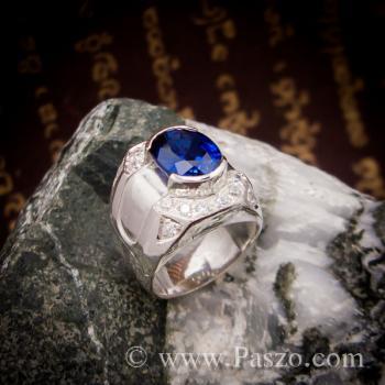 แหวนพลอยสีน้ำเงิน แหวนผู้ชายเงินแท้ แหวนไพลินผู้ชาย #8