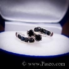 แหวนนิล แหวนเงินแท้ ฝังแบบไข้ว