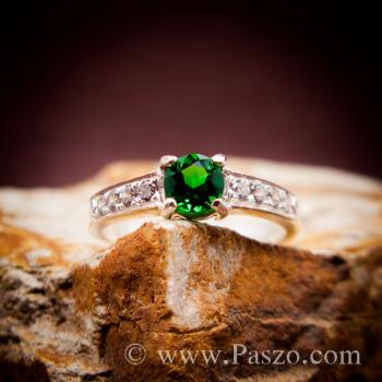พลอยสีเขียว แหวนมรกต เม็ดกลม #2