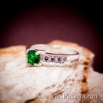 พลอยสีเขียว แหวนมรกต เม็ดกลม #5