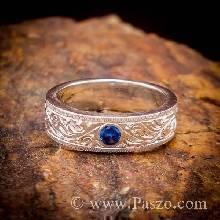 แหวนแกะลายไทย แหวนพลอยสีน้ำเงิน แหวนไพลิน แกะสลักลายไทย รอบวงไร้รอยต่อ แหวนเกลี้ยงเงินแท้