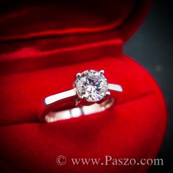 แหวนเพชร แหวนเพชรเม็ดเดี่ยว แหวนเงินฝังเพชร #3