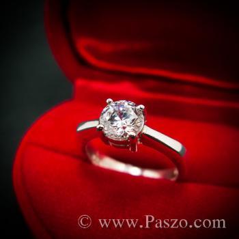 แหวนเพชร แหวนเพชรเม็ดเดี่ยว แหวนเงินฝังเพชร #4