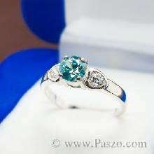 แหวนพลอยสีฟ้า แหวนเงิน