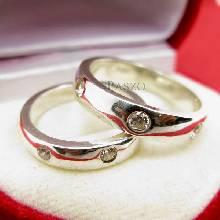 แหวนเงินคู่รัก แหวนเกลี้ยงขอบตรงฝังเพชร 3 เม็ด แหวนเกลี้ยงเงินแท้