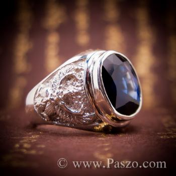 แหวนพญาครุฑ แหวนพลอยไพลิน แหวนผู้ชายเงินแท้ #3