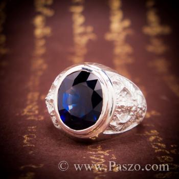 แหวนพญาครุฑ แหวนพลอยไพลิน แหวนผู้ชายเงินแท้ #4