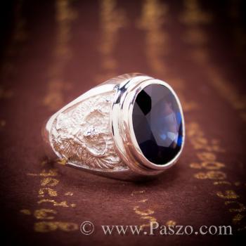 แหวนพญาครุฑ แหวนพลอยไพลิน แหวนผู้ชายเงินแท้ #5
